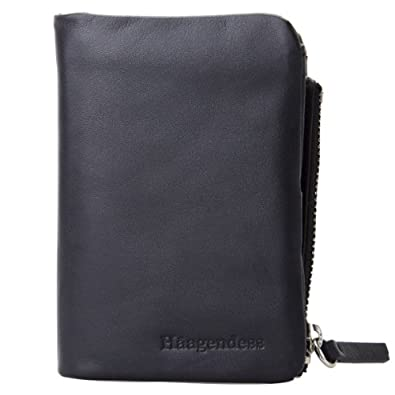 Haagendess Men's Black Leather Bifold 6 Silver Key Chain Holder with Reversible Mini Case