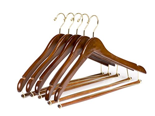 Quality Hangers Wooden Hangers Beautiful Sturdy Suit Coat Hangers with Locking Bar Gold Hooks (5 PACK) (Suit Hanger With Locking Bar compare prices)