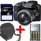 """Fuji S8500 Cámara Digital + 8GB + Baterías NiMH y cargador + caja (Fujifilm Finepix S8500 negro, HD video, 16.2MP 46x zoom óptico de 3 """"LCD, visor)"""
