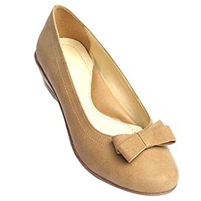 Schtaron Women's Formal Beige Ballerinas