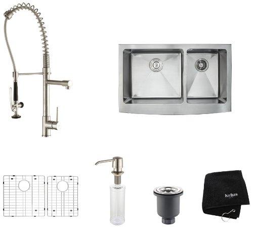 Read About Kraus KHF203-36-KPF1602-KSD30SS 36-Inch Farmhouse Double Bowl Kitchen Sink with Kitchen F...