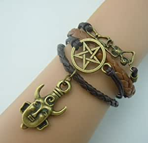 Supernatural Deans Protection Amulet Leather Charm Bracelet in Dark Chocolate Brown Colour with Tan Faux Corded Leather with Skeleton / Pentagram / Protection Amulet