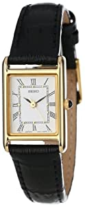 Seiko Women's SXGN42 Gold-Tone and Black Leather Strap Watch