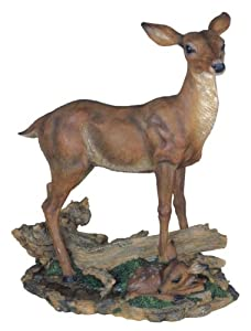 15.75 inch Large Polyresin Mother Deer and Baby Deer Figurine Statue