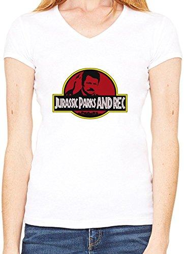 Jurassic Parks & Rec Womens V-neck T-shirt Large