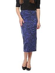 Vvoguish Royal Blue Abstract Printed Skirt