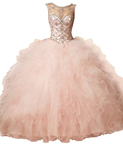 FNKS Scoop Neck Crystal Women's Prom Ball Gown Quinceanera Dresses Pink US 16