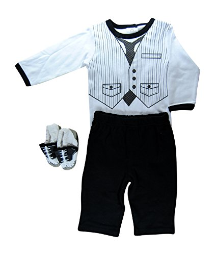 Hope Balloon Baby Boy'S 3 Piece Tuxedo Creeper With Matching Pants And Shoes 6 Months Black front-166039