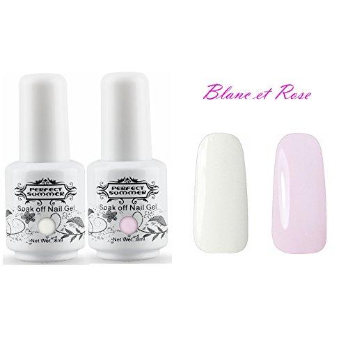Perfect Summer Vernis à Ongles Semi-Permanent Blanc et Rose French Manucure Kit 2pcs X 8ml