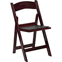 1000 lb. Capacity Mahogany Resin Folding Chair with Black Vinyl Padded Seat