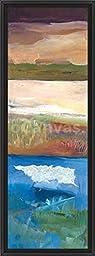 14in x 38in Nantucket Vistas II by Marlene Lenker - Black Floater Framed Canvas w/ BRUSHSTROKES