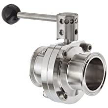 """Dixon B5101V200CC-A Stainless Steel 316L Butterfly Valve with Pull Handle and Viton Seal, 2"""" Tube OD"""