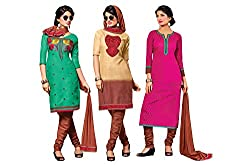 Jiya Presents 3 Top With 1 Bottom & 1 Dupatta.(Green,Beige,Brown,Pink)