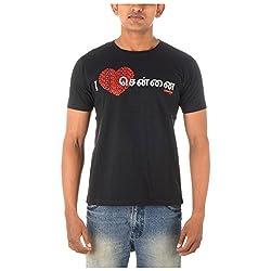 Chennai Gaga Men's Round Neck Cotton T-shirt I Luv Chennai Tamil 113-3-833-Black-S
