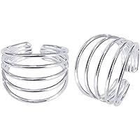 Gandhi Jewellers Sterling Silver Pair of Beautiful Toe Rings. Pretty 5 Line Toe Rings