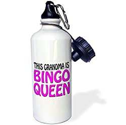 3dRose wb_149770_1 This Grandma Is Bingo Queen, Hot Pink, Sports Water Bottle, 21 oz, White