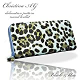 (クリスティーナエージー) Christina A.G. レディース 長財布ブルー×ブラック ダルメシアン柄ラウンドファスナー SY-137 l-129