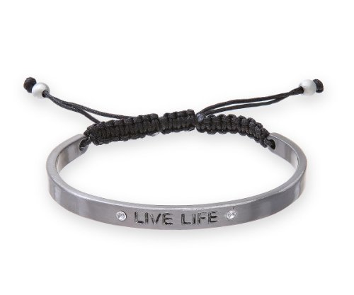 Modern Base Metal Fancy Crystal Bangle LIVE LIFE - 12mm*2mm, 12 Grams GREY COLOUR