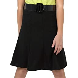 Amy Byer Big Girls\' Knee Length, Gored Skirt With Patent Leather Belt,Black,7