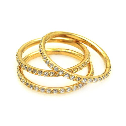 Yellow Gold Plated Sterling Silver 2mm Stackable 3 Piece High Polish Cubic Zirconia Eternity Ring Band (Sizes 5 to 9) - Size 9