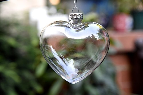 Hanging Clear Heart Shape Glass Baubles Ornaments, 6 Pieces, Perfect for Garden Outdoor Christmas Wedding Decoration or DIY Personalize Gift