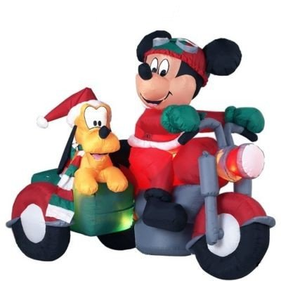 Christmas airblown inflatable mickey mouse and pluto on motorcycle