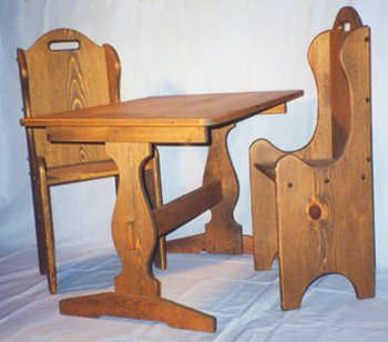"Children's Wooden Play Furniture - Trestle Table + 2 Chairs - 14"" Seat Height"