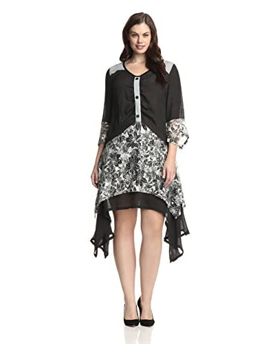 Lily by Firmiana Plus Women's Floral Patchwork Handkerchief Dress