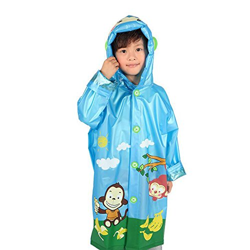 [Ezyoutdoor Unisex Kids Blue Children Hooded Raincoat Rain Jacket Poncho with School Bag Cover Children Raincoat Cartoon Poncho,Little Monkey] (Super Mario Flower Power Costume)