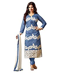 Mahavir Fashion Blue Cotton Dress Material