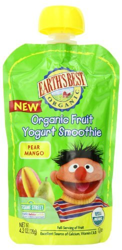 Earth'S Best Organic Pear Mango Fruit Yogurt Smoothie, 4.2 Ounce Pouches (Pack Of 12) New Born, Baby, Child, Kid, Infant