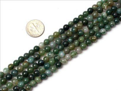 6mm Round Gemstone moss agate beads strand 15