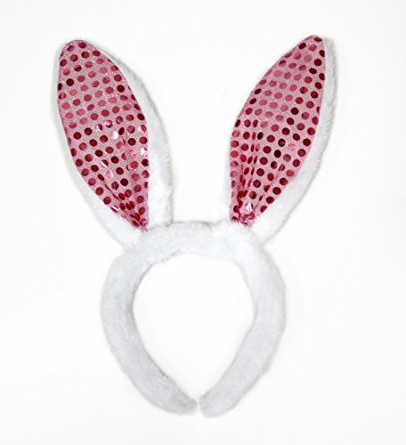 Easter Halloween Party White Fur Pink Sequin Bunny Ear Girl Headband Costume