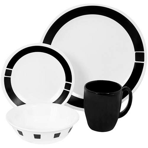 Corelle Livingware 16-Piece Dinnerware Set, Service for 4, Urban Black