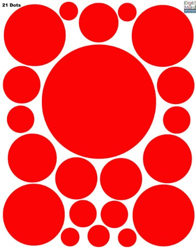 Wall Decal Dots-(21) Red Polka Dot Wall Sticker Appliques - 1