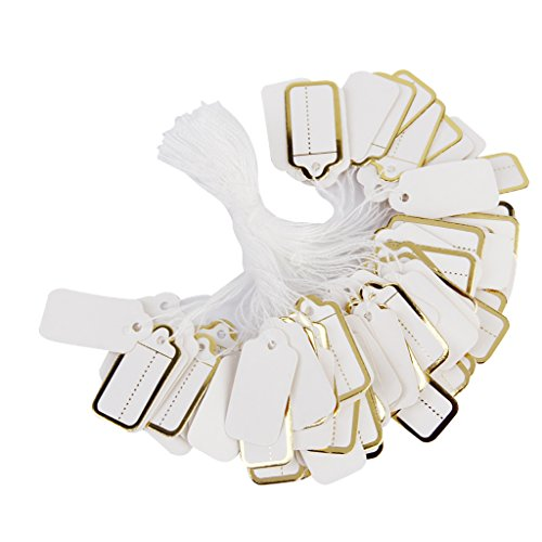 Phenovo Lot de 500pcs Étiquettes de Prix Étiquettes à Cordes pour Bijoux Bordure de Couleur D'or