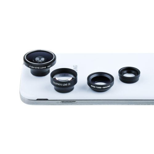 Victsing Fisheye Lens Wide Angle Macro Lens Telephoto Lebs Photo Kit Set For Iphone 5S 5C 5 4S 4 Ipad 4 3 2 Ipad Mini Samsung Galaxy S4 S3 S2 S1 Note 3 2 Smartphones Cellphones With Flat Camera - Black