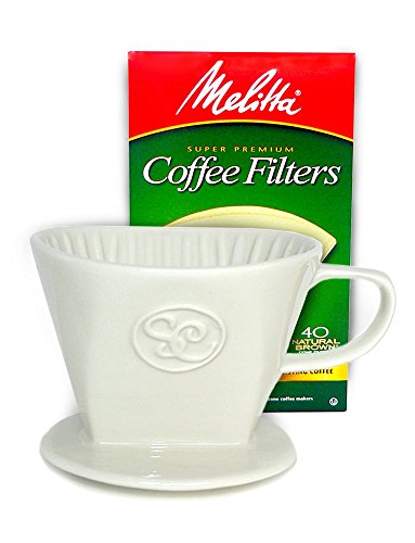Ceramic Coffee Pour Over Dripper Single Serve Complete Gift Pack - Box of 40 Melitta Cone Filters Included (Melitta Coffee Dripper compare prices)