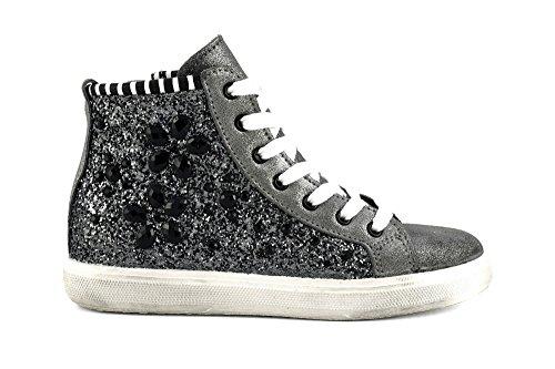 CAFÈ NOIR Sneaker donna running camoscio glitter P/E 2016 cod. DF921 (38, NERO/ASFALTO)