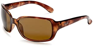 Ray-Ban RB4068 Oversized Wrap Sunglasses 60 mm, Polarized, Brown Tortoise/Brown