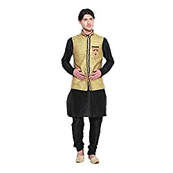 Favoroski Men Cream cotton juit Waistcoats