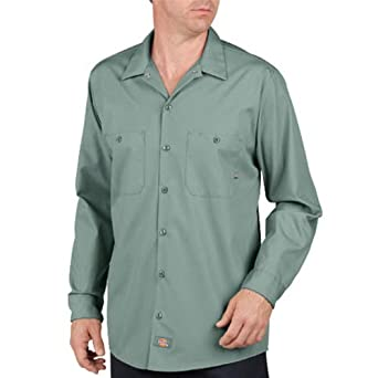 Dickies Occupational Workwear LL535UP Polyester/ Cotton Men's Long Sleeve Industrial Work Shirt, Light Spruce