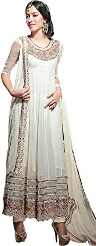 Exotic India Vanilla-Ice Bridal Anarkali Suit with Embroidered Flowe - Off-WhiteGarment Size M