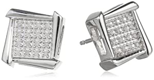 Silver Geometric Diamond Stud Earrings (1/10cttw) by Tache USA Inc