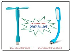 """WOW Imagineâ""""¢ COMBO PACK OF Portable USB FAN and USB LED LIGHT Lamp Flexible 5V 1.2W Low Power Consumption For Power Bank Mobile Phone Computer Laptop Tablet PC Chargers etc."""