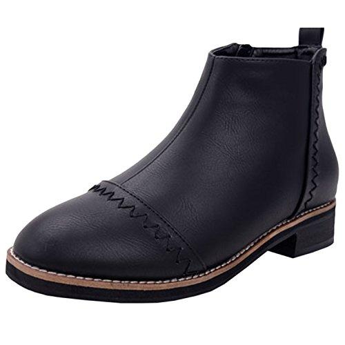 Oasap Femme Boots A Cheville Zip Sur Le Côté Bout Rond