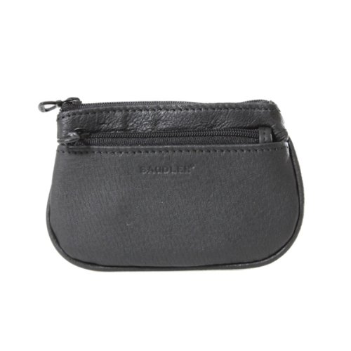 Saddler Leather Zip Top Coin Purse with Front Zip Pocket