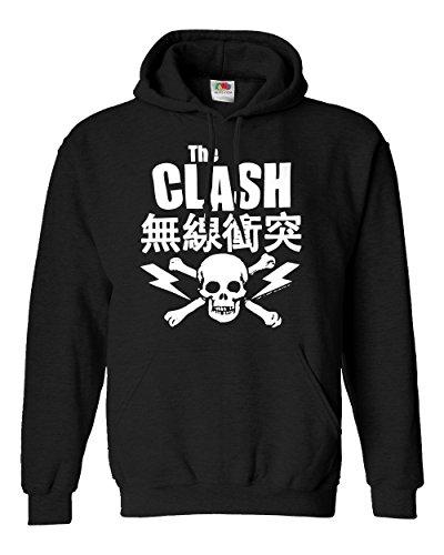 """Felpa Unisex """"The Clash"""" - Japanese Sweat - Felpa con cappuccio rock band LaMAGLIERIA, L, Nero"""