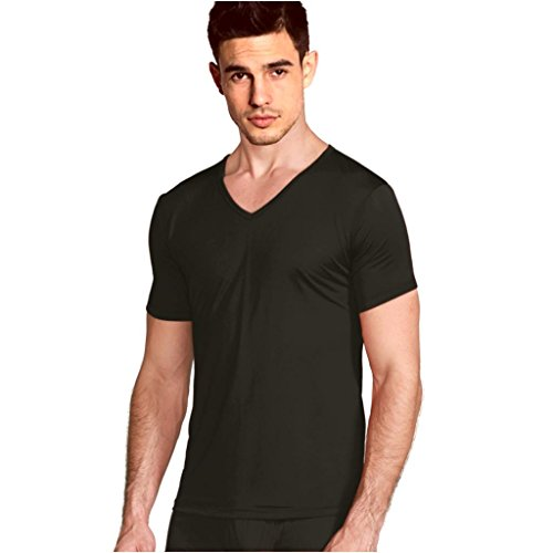 ForeverSilk Men's Pure Silk Knitted V-Neck Short Sleeve T Shirts TEE Black Size L