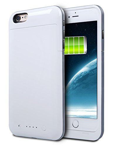 iPhone 6S Plus Battery Case, HianDier 6800mAh Extended Rechargeable Battery Case iPhone 6 Plus / 6S Plus Power Bank Cover Portable Charger Battery Pack for iPhone 6 Plus / 6S Plus 5.5''-White (Iphone Charger Custom compare prices)